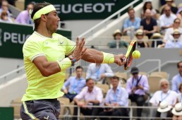 Rafael Nadal of Spain plays Kei Nishikori of Japan during their men?s quarter final match during the French Open tennis tournament at Roland Garros in Paris, France, 04 June 2019. EPA-EFE/CAROLINE BLUMBERG