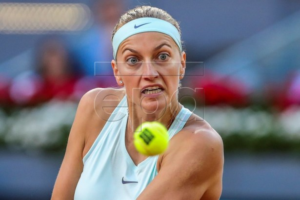 Petra Kvitova of Czech Republic in action against Sofia Kenin of the USA during their first round match of the Mutua Madrid Open 2019 tennis tournament at Caja Magica in Madrid, Spain, 04 May 2019.  EPA-EFE/JUANJO MARTIN
