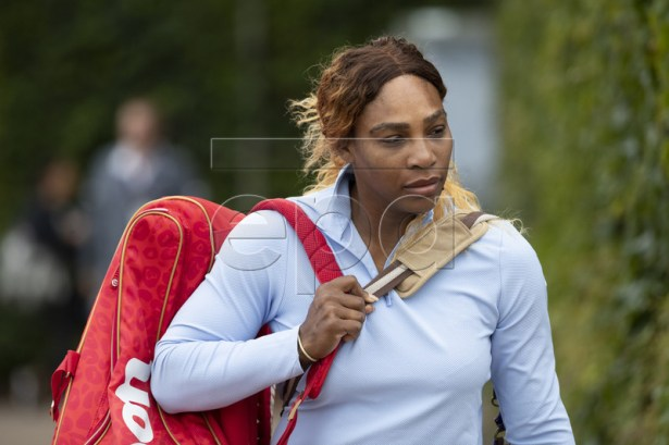 Serena Williams of USA arrives for a training session at the All England Lawn Tennis Championships in Wimbledon, London, Britain, 26 June 2019. The Wimbledon Tennis Championships 2019 will be held in London from 01 July to 14 July 2019. EPA-EFE/PETER KLAUNZER EDITORIAL USE ONLY; NO SALES, NO ARCHIVES