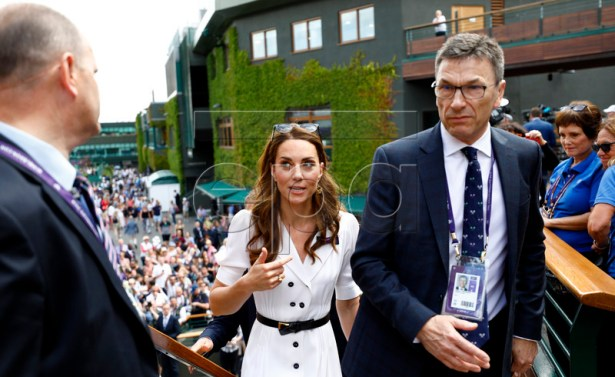 Catherine, the Duchess of Cambridge (C) on the grounds on day two of the Wimbledon Championships at the All England Lawn Tennis Club, in London, Britain, 02 July 2019. EPA-EFE/NIC BOTHMA EDITORIAL USE ONLY/NO COMMERCIAL SALES