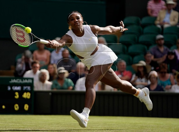 Serena Williams of the US returns to Giulia Gatto-Monticone of Italy in their first round match during the Wimbledon Championships at the All England Lawn Tennis Club, in London, Britain, 02 July 2019. EPA-EFE/WILL OLIVER EDITORIAL USE ONLY/NO COMMERCIAL SALES