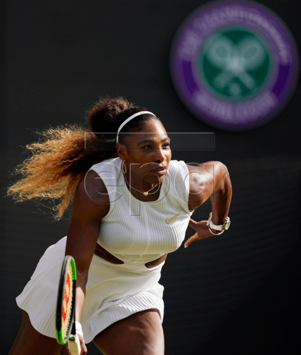 Serena Williams of the US plays Kaja Juvan of Slovenia in their second round match during the Wimbledon Championships at the All England Lawn Tennis Club, in London, Britain, 04 July 2019. EPA-EFE/WILL OLIVER EDITORIAL USE ONLY/NO COMMERCIAL SALES