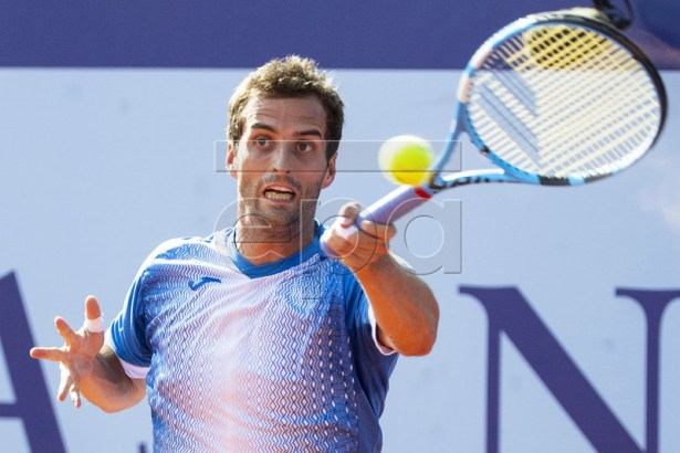 Albert Ramos-Vinolas of Spain in action against his compatriot Fernado Verdasco during their second round match at the Swiss Open tennis tournament in Gstaad, Switzerland, 24 July 2019. EPA-EFE/PETER SCHNEIDER