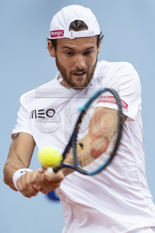 Joao Sousa of Portugal in action against Cedrik-Marcel Stebe of Germany during a semi final game at the Swiss Open tennis tournament in Gstaad, Switzerland, on Saturday, July 27, 2019. EPA-EFE/PETER SCHNEIDER