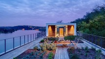 Modern Lake Home Deck with Roof