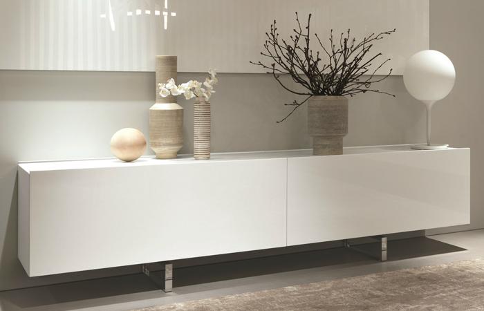 Bahut Square  256 cm  Laqu blanc  Top marbre  10surdix
