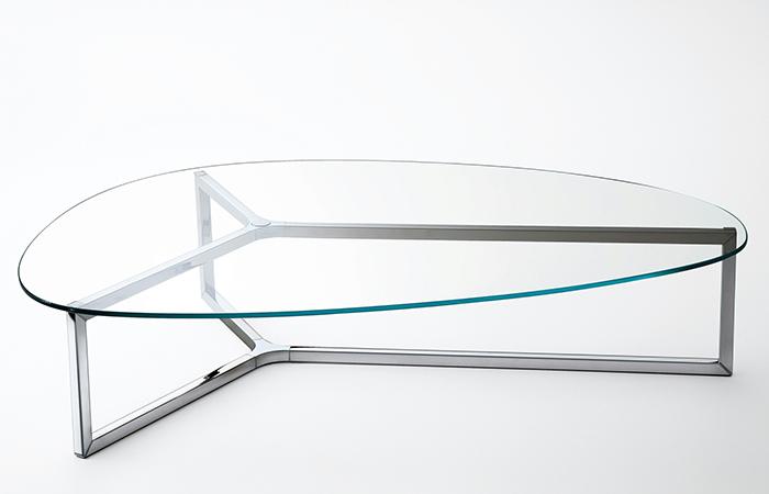 table basse raj 3 86 56 cm inox brillant verre