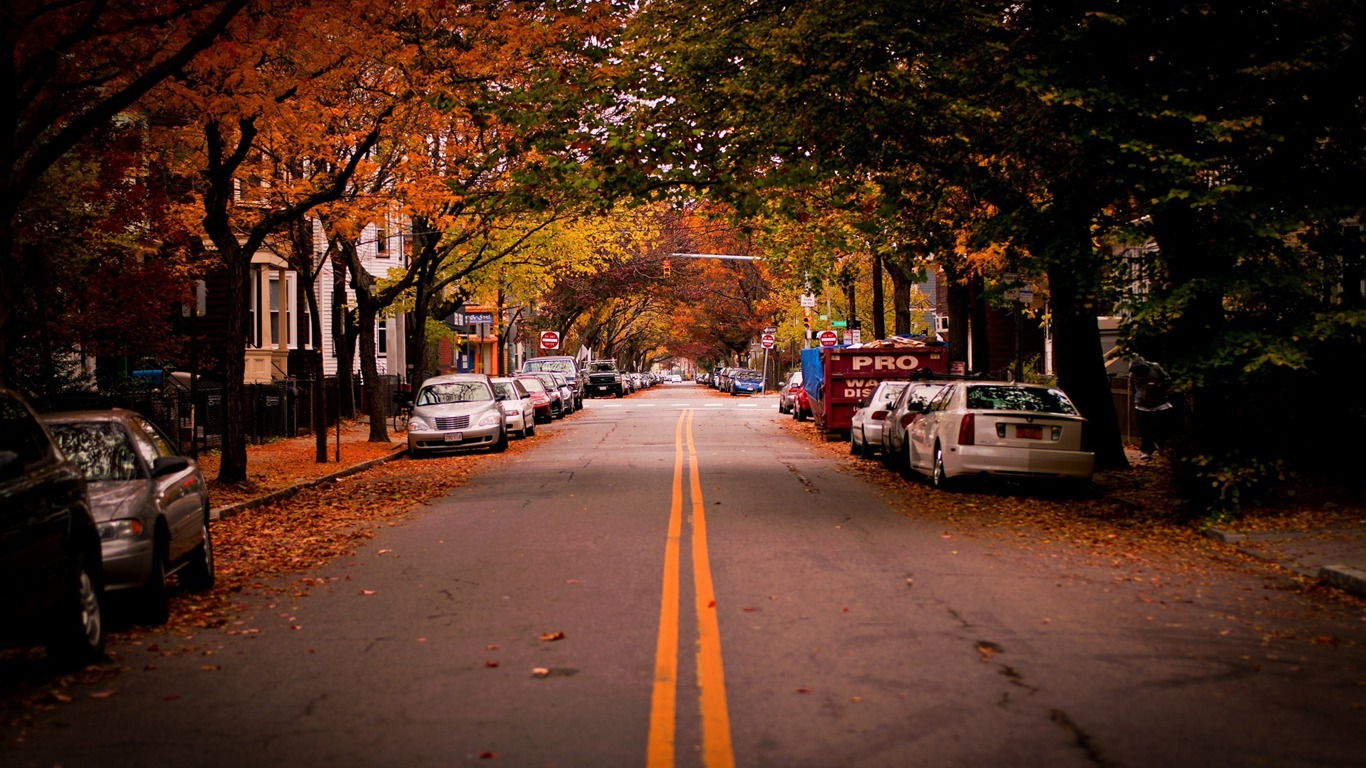 Fall Town Wallpaper American Town Autumn The City Landscape Photography
