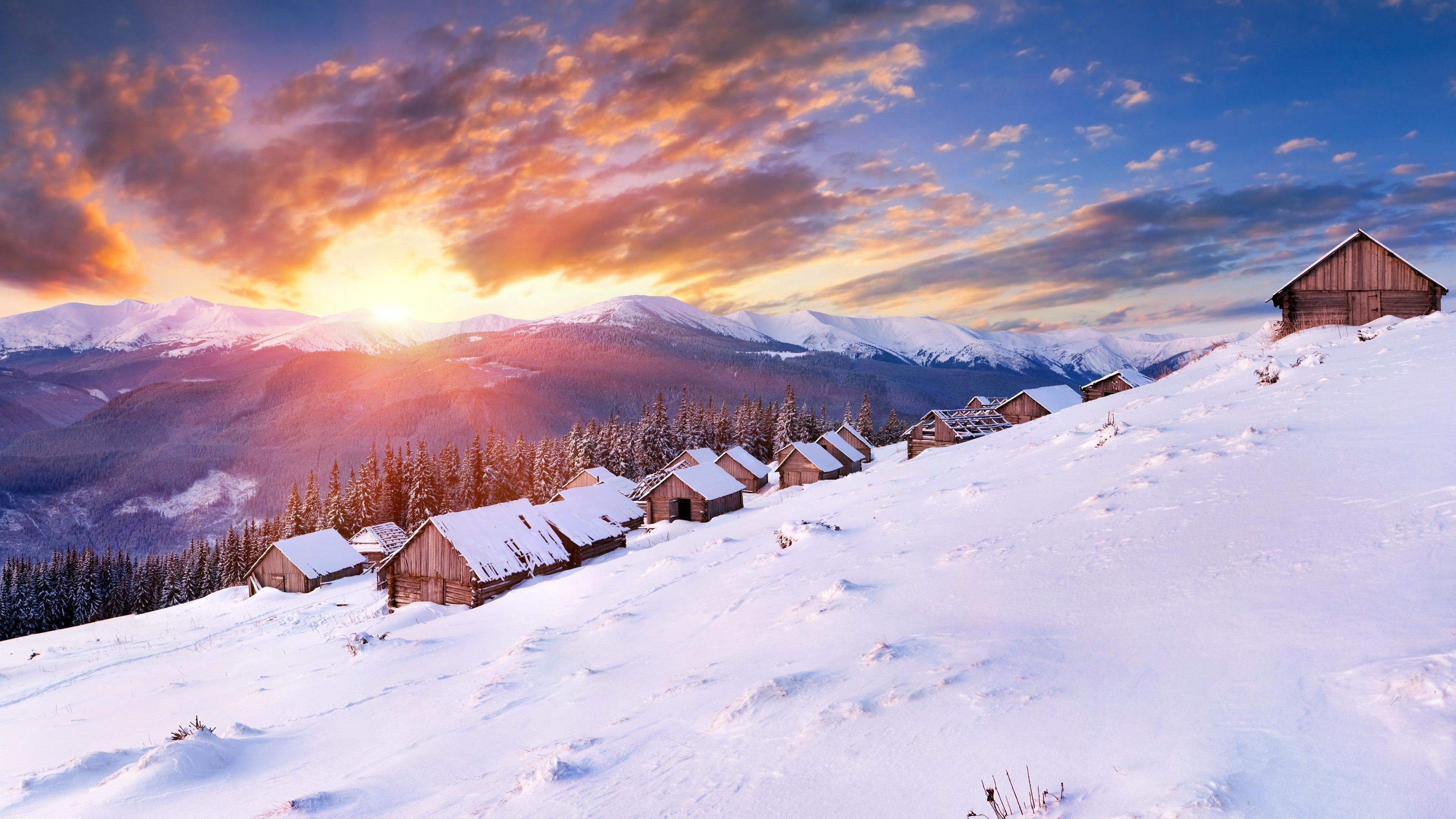 冬天,雪山,木房子,日落,景观预览 10wallpaper Com