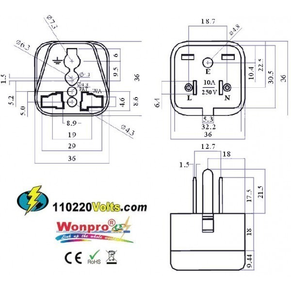 WonPro WA-5 Universal to US Grounded Travel Power Plug