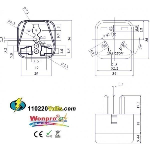 WonPro WA-16 China, New Zealand & Australia Power Plug