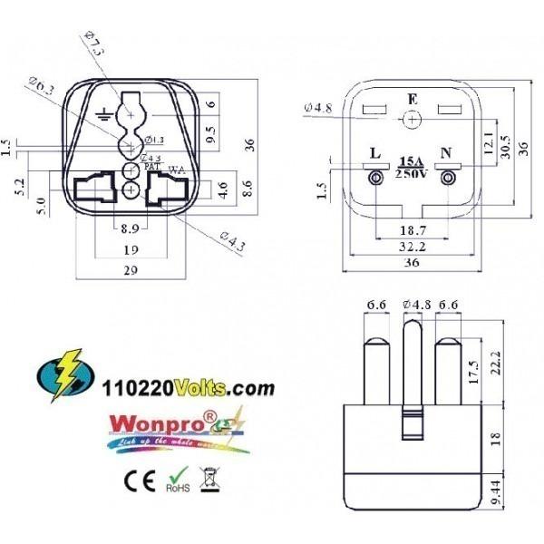 WonPro WA-18 Universal to North American NEMA 6-15