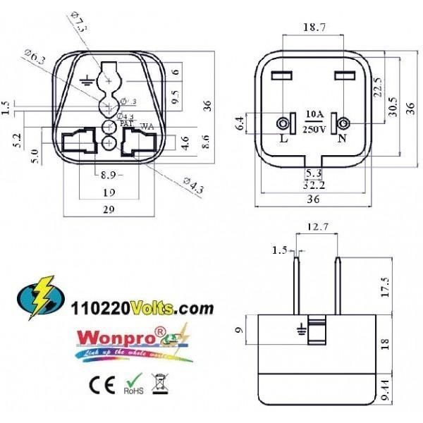 WonPro WA-6 Universal to US Power Plug Adapter