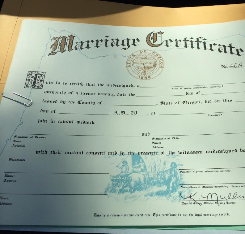 marriage license! – 110 pounds and counting
