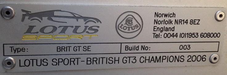 Lotus Exige S British GT Lotus Sport plate