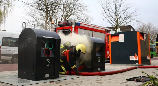 Brand in metrocontainer op de Dunantsingel in Gouda