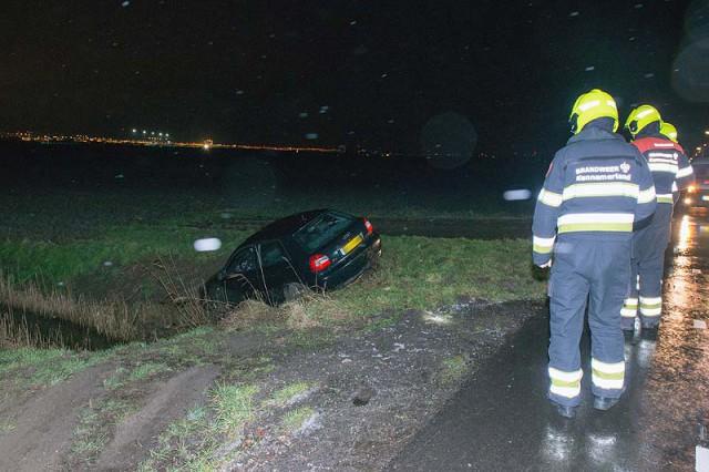 Lijnden: Automobilist wordt afgesneden en belandt in greppel