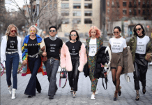 fashion trends - group with feminist tshirts on