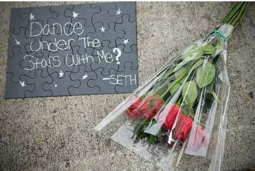 Puzzle that ask a girl to prom with a bunch of roses