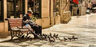 Caring for the elderly old man senior people bench_opt1