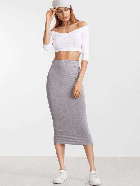 7 Comfortable and Casual Spring Outfit Ideas You Must Try shein midi skirt white top sneakers