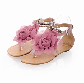 ericdress sweet lady flower decorated ankle strap flat sandals