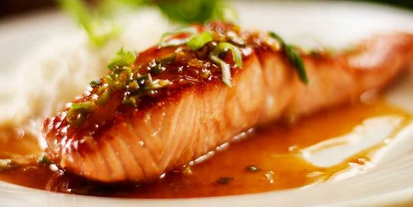 Salmon glazed honey soy