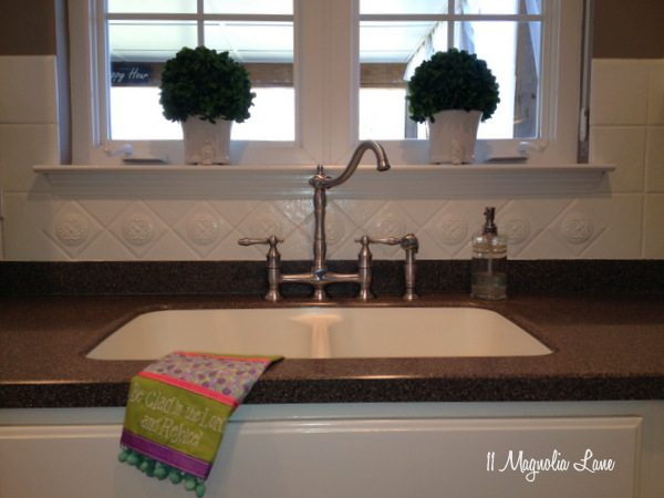 Painted Ceramic Tile Backsplash In My Kitchen A Year Later 11