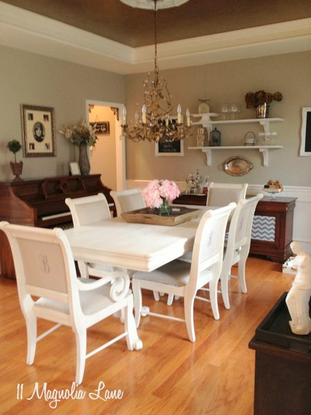 White Chalk Painted Dining Room Table  Monogrammed Chairs  11 Magnolia Lane