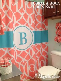 Our New Home~Girl's Bathroom in Aqua and Coral | 11 ...