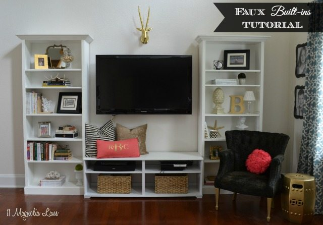 diy living room reclining sofas our new home tutorial on built in shelves 11 magnolia lane faux ikea hack