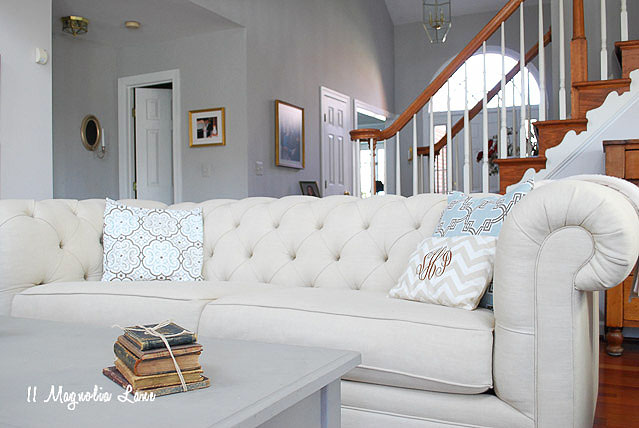 pottery barn living room sofas sectional sofa chesterfield review and lower cost alternatives as well a loveseat our decorating tastes are very similar you can tell i take after her in more ways than one