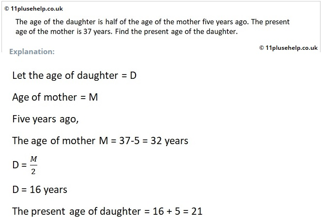 11 Plus Maths Sample from Ages Topic