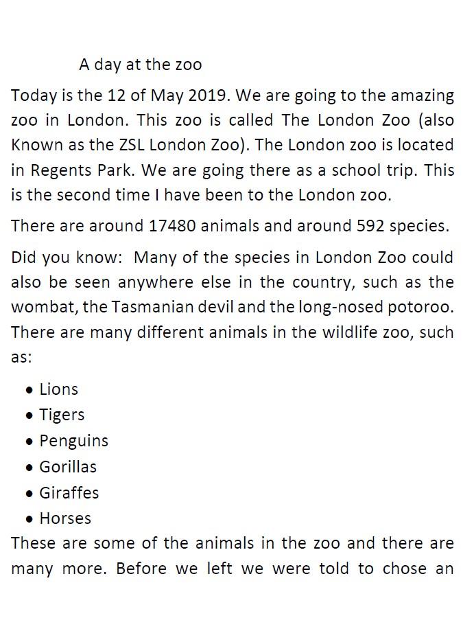 11+ Creative Writing Zoo1