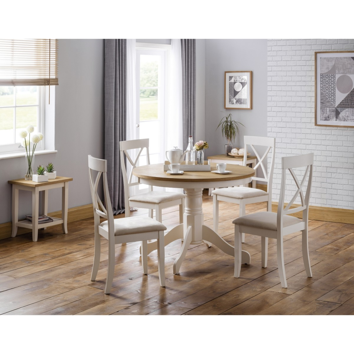 ivory dining chairs uk sideline for basketball davenport oak round set with 4 ebay