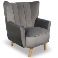 Armchairs - Penbury Grey Velvet Armchair, Fabric Armchairs