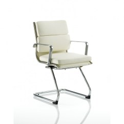 Ivory Leather Office Chair Size Dynamic Savoy Cantilever Visitors White 121