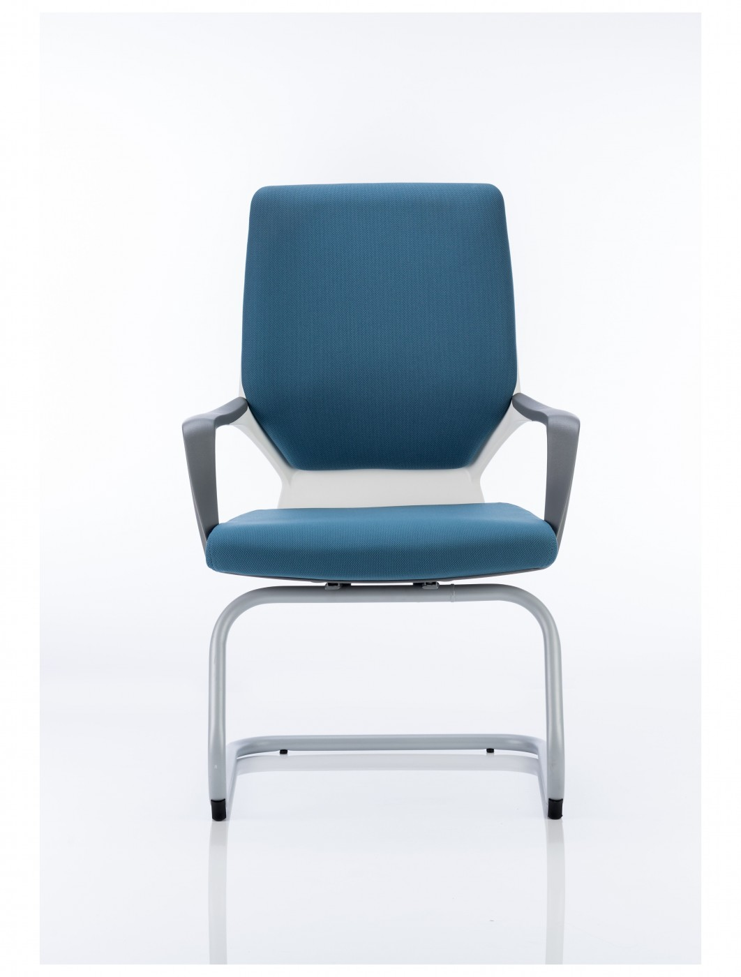 white shell chair leather recliner chairs canada dynamic xenon blue fabric visitors with