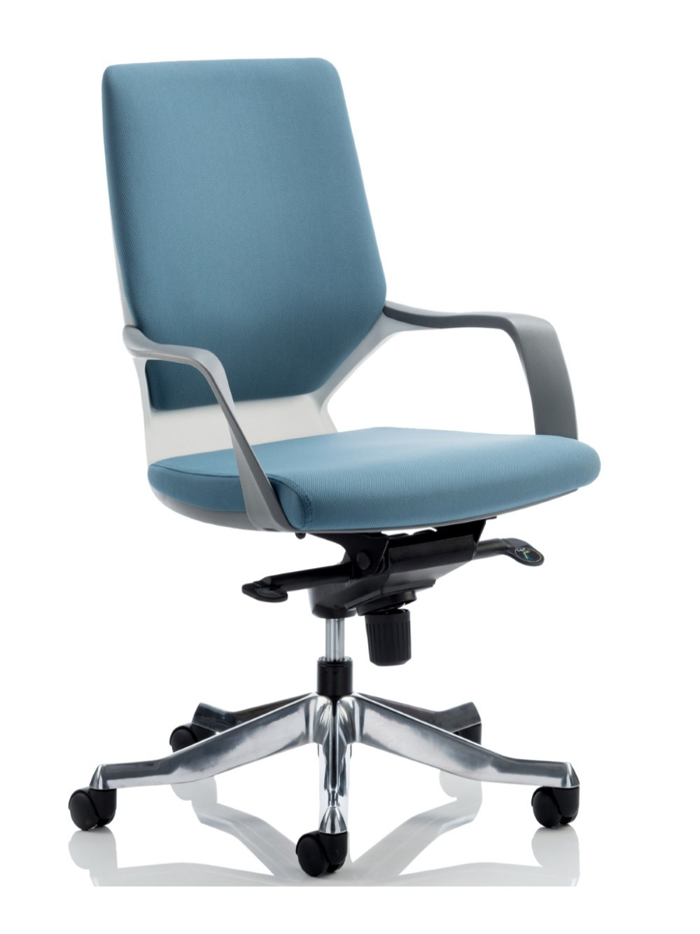 Dynamic Xenon Blue Fabric Executive Chair With White Shell 121 Office Furniture