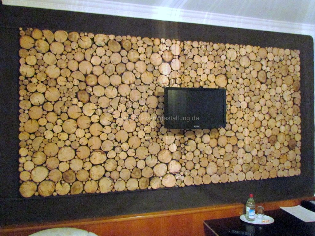 Holzpaneelen Sticks  Holzverkleidung in BaumscheibenOptik
