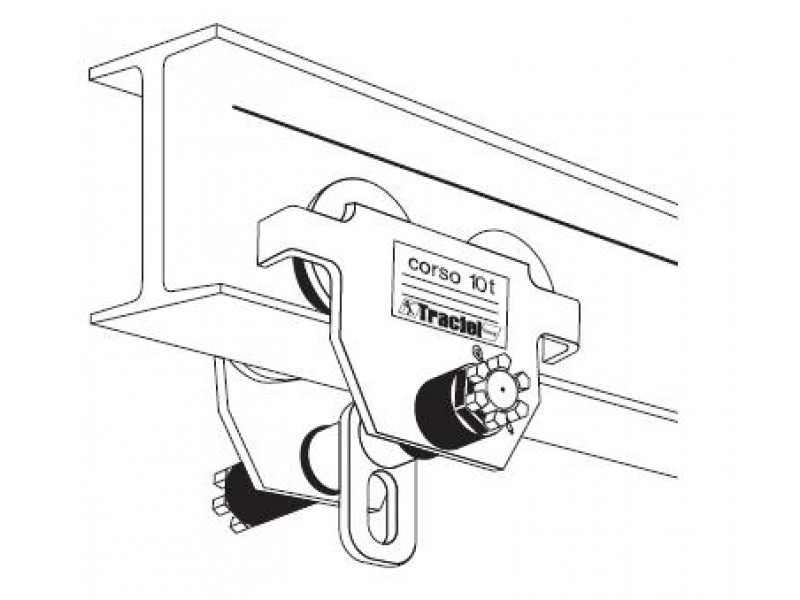Hand operated hoist trolley, 10 t