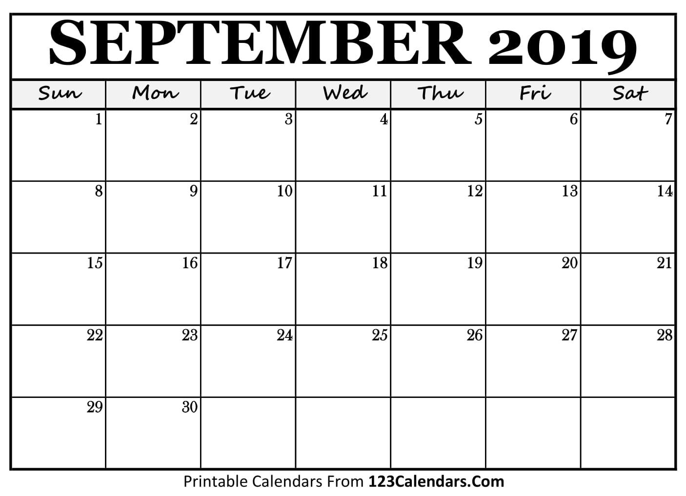 Printable September 2018 Calendar Templates - 123Calendars.Com