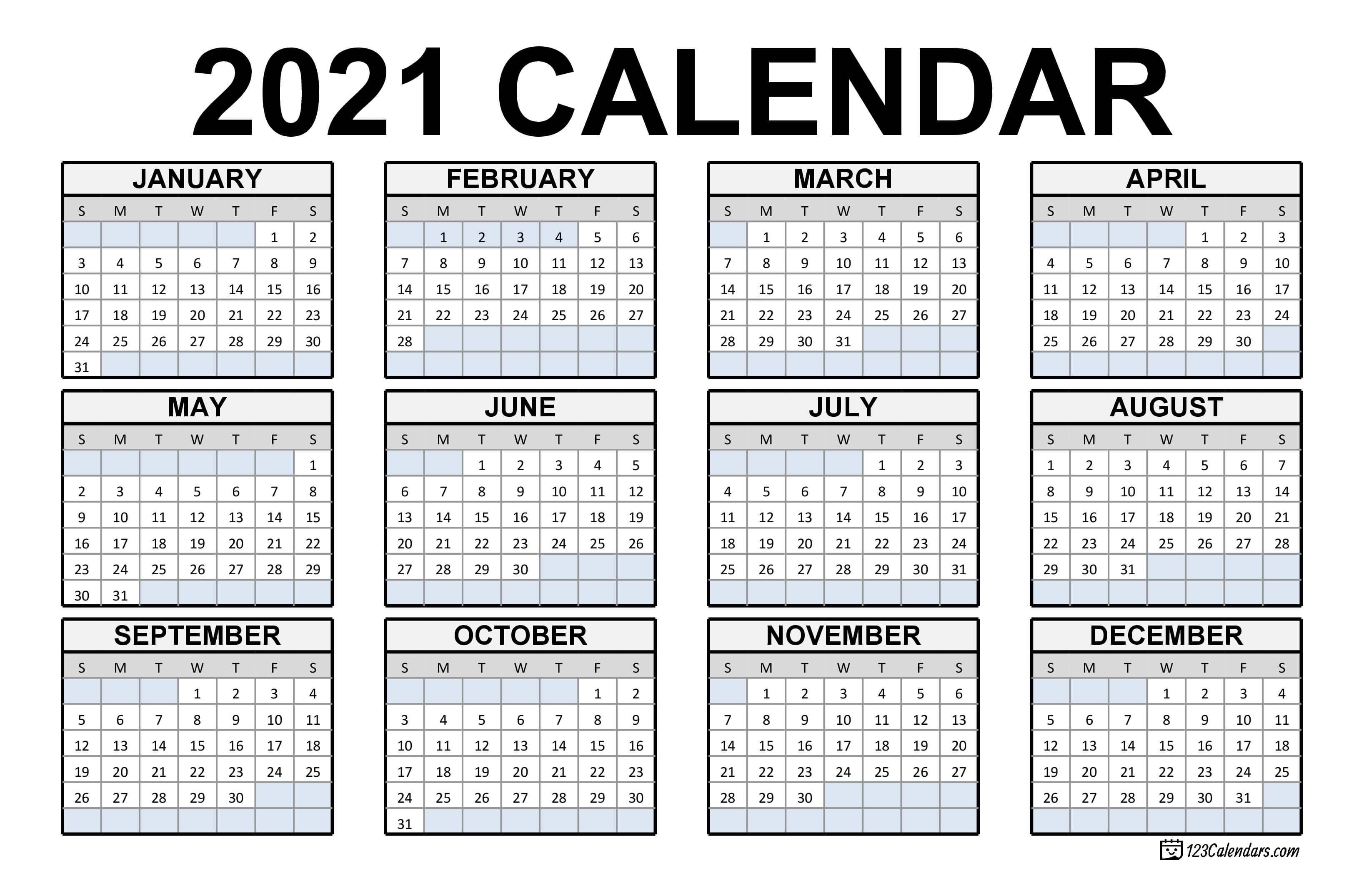 This template is available as editable pdf / jpg document. 2021 Printable Calendar   123Calendars.com