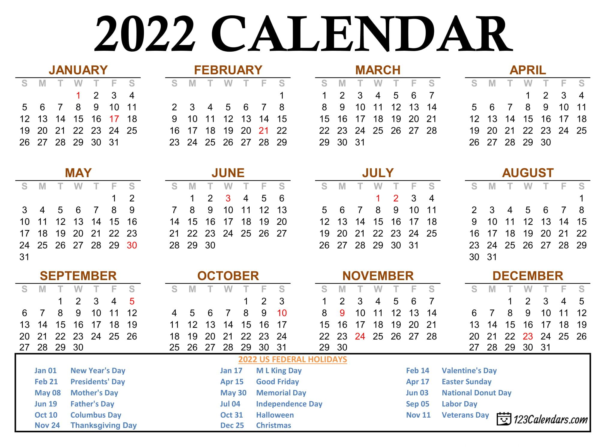Year 2022 Calendar Templates | 123Calendars.com