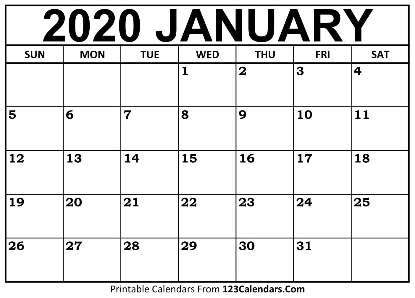 January 2020 Printable Calendar | 123Calendars.com