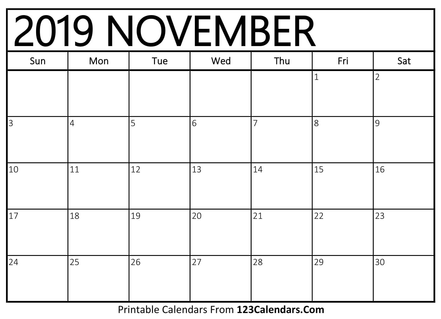 November 2019 Printable Calendar   123Calendars.com