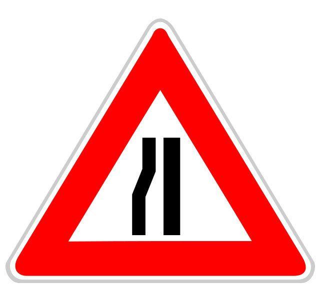 Panneau chaussée rétrécie gauche
