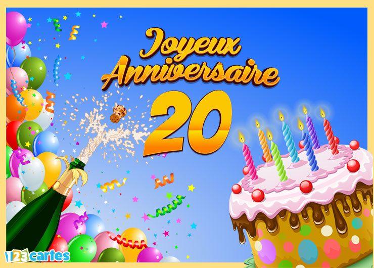 19 Cartes Joyeux Anniversaire âge 20 Ans Gratuits 123 Cartes
