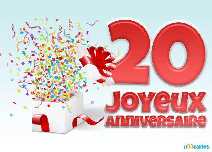19 Cartes Joyeux anniversaire âge 20 ans (Gratuits) | 123 cartes