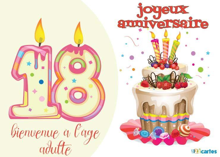 22 Cartes Joyeux Anniversaire Age 18 Ans Gratuits 123 Cartes